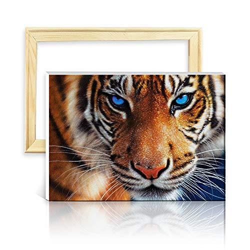 ufengke Tiger 5D Diamant Malerei Set Mosaik DIY Diamond Painting nach Zahlen Kreuzstich Stickbilder, mit Holzkeilrahmen, Design 25x35cm