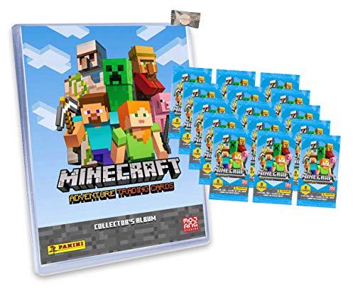 ★ Minecraft Karten Adventure - Minecraft Trading Cards (2021) - 1 Sammelmappe + 15 Booster + stickermarkt24de Gum
