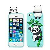 EarthNanLiuPowerTu iPhone 5/SE/5S/5C/5G Carcasa para Chicas, TPU Charming Series - Silicona Flexible de Alto Impacto Funda para iPhone 5/5s/SE/5C, [Dibujos Animados en 3D Kawaii Panda ] (Azul)