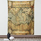 Lunarable Wanderlust Tapestry, 16th Century Map of The World History Adventure Civilization, Fabric Wall Hanging Decor for Bedroom Living Room Dorm, 23' X 28', Green Brown