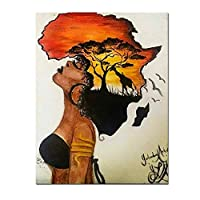 壁の上の古典的なアフリカの女性の絵画抽象的な夕日の風景壁アートキャンバスプリントとポスター写真家の装飾70x100cm(28x40in)