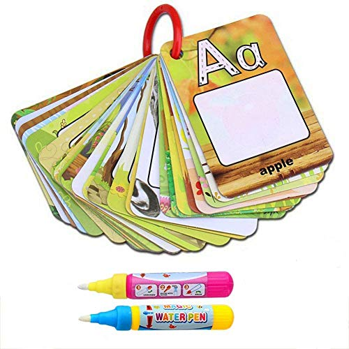 BBLIKE Reusable Coloring Books for Toddlers, Paint with Water Books Magic Alphabet Word Coloring Doodle Pad ABC Flash Card Educational Toy for Toddlers, 2 Magic Pen + 26 Letters Water Reveal Word