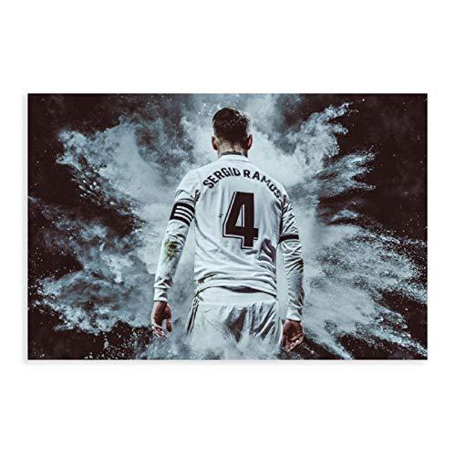Póster de Sergio Ramos de la estrella de fútbol de los deportes 12 de lona, para decoración de dormitorio, paisaje, oficina, habitación, decoración, regalo, 50 x 75 cm
