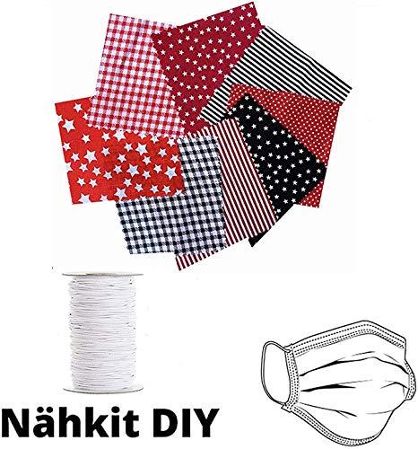 FILWO Baumwollstoff meterware Stoffpaket 8 Stück 50 x 50 cm - Stoffe zum nähen, Patchwork Baumwolle nähstoffe mit 10m Gummiband