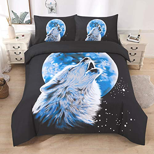3D Print Duvet Cover Set Single Double King Size Animal Print Duvet Bedding Set (King, Wolf Moonlight)