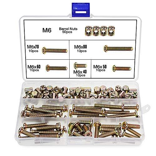 100 Stück M6 Zylindermuttern Schrauben, M6 x 40/50/60/70 / 80mm, Zylinderschrauben, Schraubenmuttern-Sortiment, für Möbelbetten, Kinderbett und Stühle