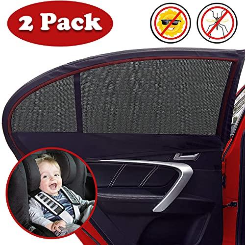 Tendine Parasole Auto Bambini, 2 Pezzi Auto Block Raggi UV Antizanzare Parasole Auto Finestrini Laterali