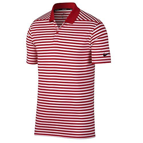 NIKE Men's Dry Victory Stripe Polo Golf Shirt, University Red/White/Black, Large
