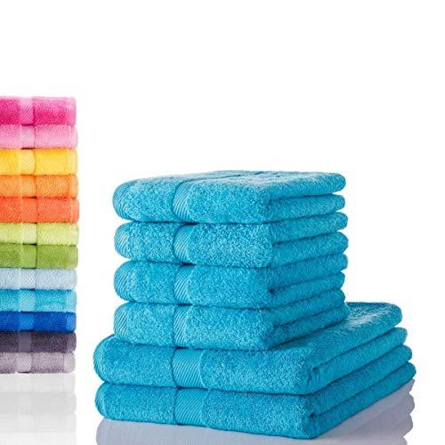 etérea Carli 6 TLG Handtuch Sparset 4X Handtücher, 2X Duschtücher - 100% Baumwolle und Oeko Tex Standard 100 - Qualitäts Frottierware 500 g/m² - Farbe: Türkis