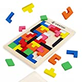 USATDD Wooden Blocks Puzzle Brain Teasers Toy Russian Tangram Colorful Jigsaw Game Wood Puzzles Montessori Intelligence STEM Educational Gift for Baby Toddlers Kid Boys Girls 40 Pcs