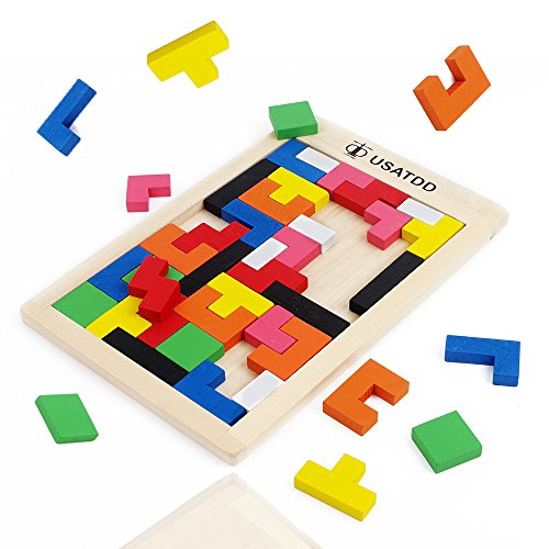 USATDD Wooden Puzzles Brain Teasers Toy Russian Tangram Colorful Jigsaw Game Wood Puzzles Montessori Intelligence STEM Educational Gift for Baby Toddlers Kids 3 4 5 6 7 Years Old Boys Girls 40 Pcs