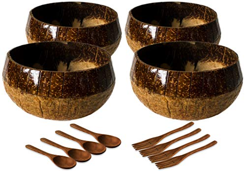 SRC Coconut Bowls Set – Wooden Bowls for Food and Decor – Organic and Eco-Friendly Kitchen Set – Exquisite Artisan Craft - Hand Carved on Bowls - Set of 4 Large Bowls with Spoons and Forks