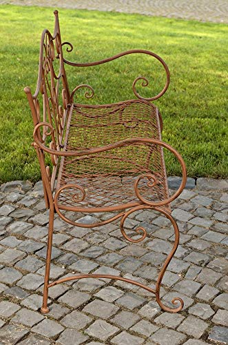 CLP Gartenbank TARA, Landhaus-Stil, Eisen lackiert, Design antik,113 x 47 cm, bis zu 5 Farben wählbar Antik Braun - 6