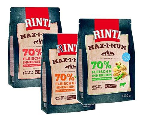 Zoolox RINTI Max-i-Mum GETREIDEFREI Trockenfutter für Hunde Probiermix 3 x 1kg
