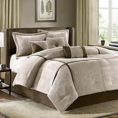 Madison Park Dallas Queen Size Bed Comforter Set Bed In A Bag - Khaki, Solid – 7 Pieces Bedding Sets – Micro Corduroy Bedroom Comforters