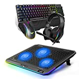 HAVIT Mechanical Keyboard Mouse Headset Kit and RGB Laptop Cooling Pad for 15.6-17 Inch Laptop with 3 Quiet Fans and Touch Control