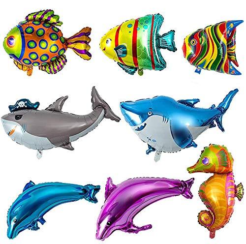 MOOKLIN ROAM 8 Piezas Globos de Pescado, Grande Globos Brillantes de Helio Globo Animal Marino Globos de Papel de Aluminio para Niños Cumpleaños Decoración de Banquete de Boda Fiesta de Navidad