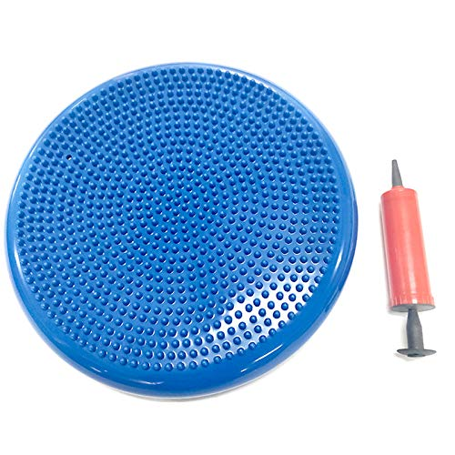 HEcSHENG Inflated Stability Wobble Cushion with Pump Half Ball Balance Trainer Fitness Core Trainer Wiggle Pad for Home Or Office Desk Chair & Kids Workout Equipment,Blue