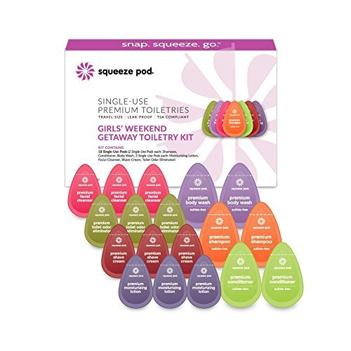Squeeze Pod'Girls Weekend' Travel Kit Gift Set for Women - 18 Assorted Single Use Pods - TSA Approved Travel Size Toiletries made with Natural Ingredients (KWG7)