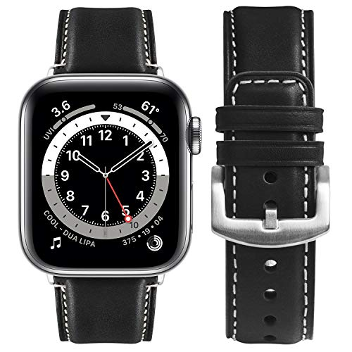 Fullmosa Kompatibel Apple Watch 6 Se Armband 40mm,geeignet für iwatch 38mm Serie 5/4/3/2/1, Yola Lederarmband für Damen Herren,40/38mm Schwarz + Silberne Schnalle