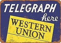 Telegraph Hereウエスタンユニオン 金属板ブリキ看板警告サイン注意サイン表示パネル情報サイン金属安全サイン