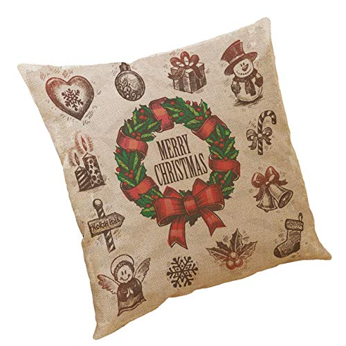 Iuhan Christmas Throw Pillow Case Cushion Cover 18x18, Pillow Case Christmas Pattern Sofa Car Throw Cushion Cover Home Decor for Christmas Party Decorations Pattern A-215