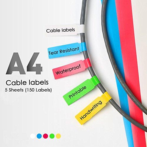 Etiquetas de cables autoadhesivas Impermeable resistente a roturas Herramienta de impresión en línea para impresoras láser Etiquetas durables de 5 hojas A4 150 (150 etiquetas)