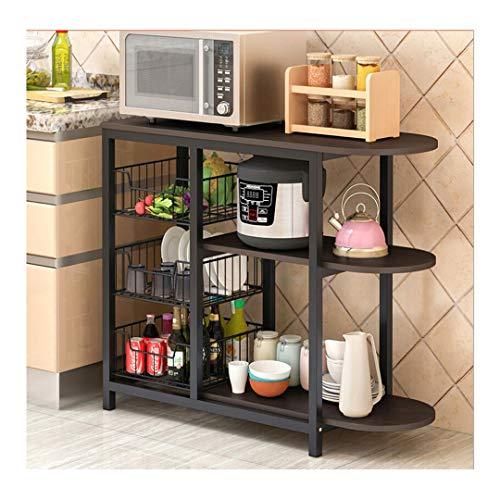 Kitchen Baker Rack, Mosunx 3 Tier Multifunction Microwave Oven Workstation Shelf Standing Spice Storage Pot Organizer Shelves (Black, 31.5 x 13.0 x 29.5 inches)