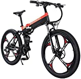 Bicicleta eléctrica Montaña eléctrica bicicleta plegable for adultos Bicicletas 27 Velocidad de marco de acero de doble suspensión E-Bici 48V 400W Electric City, ligero bicicletas for Adolescentes Hom
