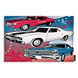 Swono Muscle Cars Doormats Bathroom Floor Mat,Classic Vintage Cars with Red White Blue in American on Star Background Entrance Front Door Rug for Outdoor Garden Kitchen Bedroom 23.6'X15.7'