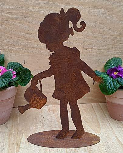 terracotta-toepfe-de Rost Figur Mädchen mit Kanne, Höhe ca. 35 Metall Edelrost Deko