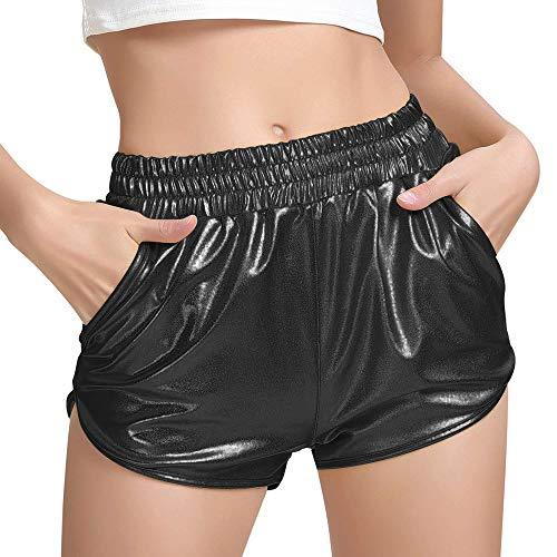 Women's Yoga Hot Shorts Elastic Waist Shiny Metallic Pants (Black, XXL)