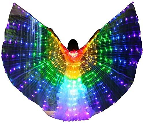 wsbdking Color cambiando las alas de isis DIRIGIÓ Traje de baile de ángel adulto con palitos telescópicos DIRIGIÓ Iluminado Big Wing Dance Adult 360 Grados Belly Dance Rendimiento Danza Rendimiento Or