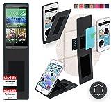 Hülle für HTC Desire 816G Tasche Cover Hülle Bumper | Schwarz Leder | Testsieger