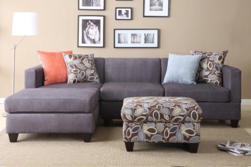 Hot Sale Florence Sectional Sofa in Microfiber Finish with ottoman and free accent Pillows (Charcoal)