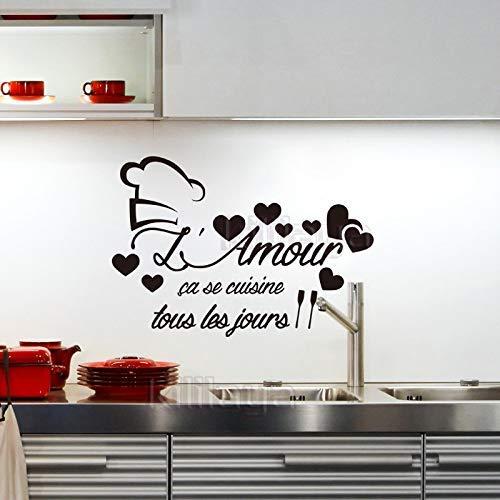 Stickers Franse keuken L'Amour Vinyl muursticker Decals muurschildering muur kunst keuken tegel behang huis decoratie 45*65cm