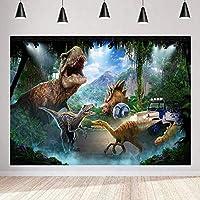 写真のための新しい恐竜と車の背景250×180cm古代と現代の背景パーティーの装飾用品写真撮影の小道具62