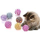 Groust 10 bolas de sisal para gatos, interactivas y naturales, para masticar, respetuoso con el medio ambiente, juguete interactivo (color aleatorio) 5 cm