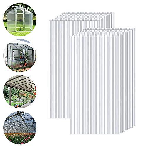 Froadp 14 Piezas Láminas de Policarbonato Celular Plástico Resistente UV-Rayos Accesorios de Doble Ranura para Plantas Cultivos Sistemas de Carpas de Invernadero de Jardín(605x1210x4mm, Transparente)