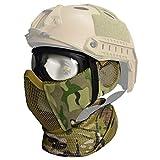 QMFIVE Airsoft halbe Gesichtsmaske, Taktische Maske mit Gehörschutz Jagd Paintball Military Motorrad Cosplay Film Prop (MC+Goggles+Scarf)
