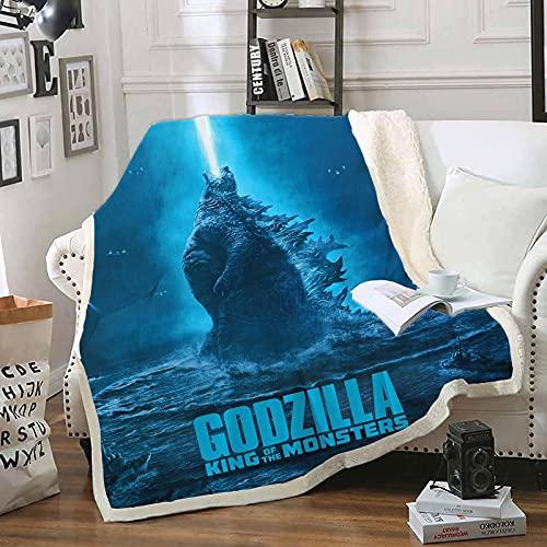 Manta De Felpa con Estampado, Diseño De Impresión 3D Godzilla Mantas, Upgrade Microfibra Suave Y Cálida Tiro De La Ropa De Cama (150X200Cm)