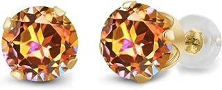 Gem Stone King 14K Yellow Gold Ecstasy Mystic Topaz 4-Prong Stud Earrings 1.90 Ct Round Cut 6MM