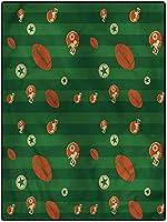 カーペット 防音マット 台所 リビングラグ 寝室 约 120*160cm フットボールの柔らかいふわふわの寝室の敷物キッチンフロアランドリーリビングルームグリーンストライプラグビーアイコン ペルシャ絨毯 インテリア 北欧家具 短い毛足 子供
