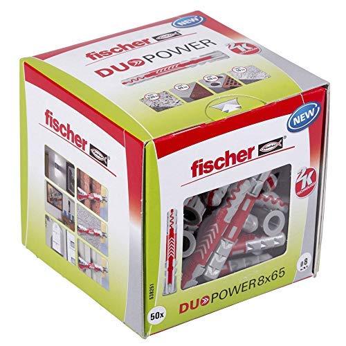 FISCHER 538241 taco de nylon, Gris y Rojo, 8x65 (Caja 50 tacos)