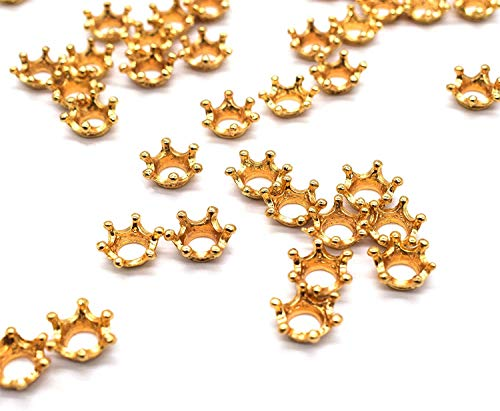 Super Idee 100 kleine goldene Kronen Tischdeko Streudeko Mini Deko Teile Streuteile als Symbol für Macht Erfolg Ziele Glück für Geburtstag Hochzeit Taufe Kommunion zum Verzieren von Geschenken