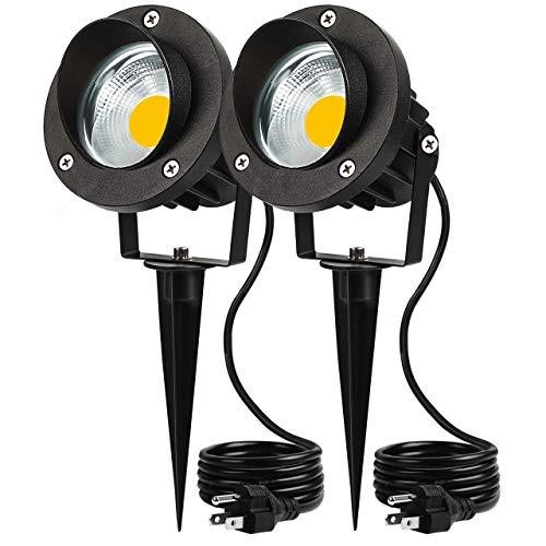 Outdoor LED Landscape Lights Spotlight 5W 120V AC Garden Light IP66 Waterproof for Yard,Trees,Flag,Lawn,Patio Outside Flood Lights(2 Pack)