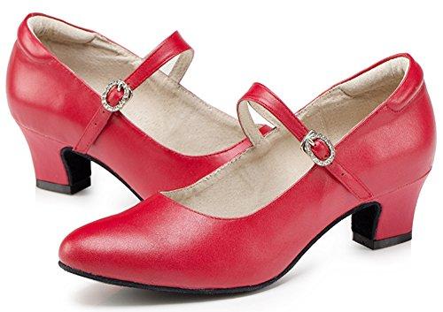 Honeystore 2016 Neuheiten Frauen Echtleder Heels Absatzschuhe Moderne Tanzschuhe Rot 39 CN - 4