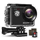 Dragon Touch アクションカメラ 4K/30fps 高画質 2000万画素 手ぶれ補正 Wi-Fi搭載 30M防水 SONY製CMOSセンサー 長時間録画 外部マイク対応 170°広角レンズ 1050mAhバッテリー2個 水中カメラ ウェアラブルカメラ 小型 リモコン付き 映像撮影 ウェブカメラ スポーツカメラ 豊富なアクセサリー「Vision 4 Lite 」