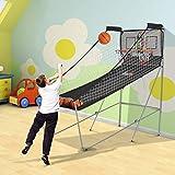 HOMCOM Juego de Canastas de Baloncesto Plegables y Portátiles con Contador Electrónico Doble y 4 Pelotas de Baloncesto con Soporte de Acero y Color Negro y Blanco 205x110x205cm (PxANxAL)