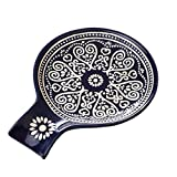 Ceramic Spoon Rest, Cooking Spoon Holder for Kitchen Counter/Stove Top/Dining Table Modern Farmhouse Decorative, Large (Blue)